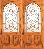 Wood Entry Doors - Western 2 Panel Wood Door with Round Lite - Western 2 Panel Wood Double Door with Round Lite